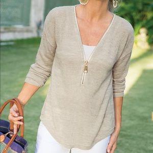 Soft Surroundings Tan Valentina Zip Sweater Large